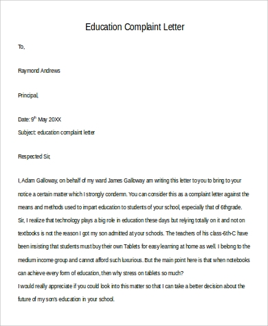 education complaint letter