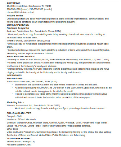 sample college internship resume