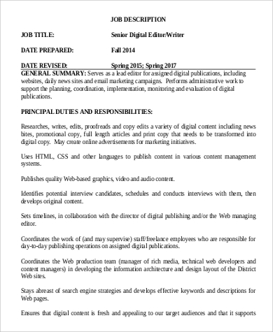 Digital Editor Job Description Sample - 8+ Examples In Word, Pdf