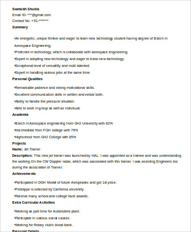 internship student resume