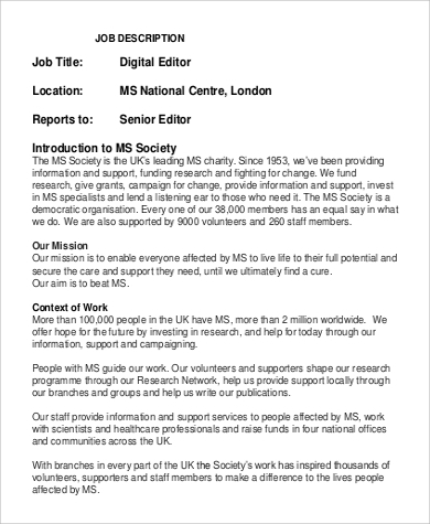 Digital Editor Job Description Sample   Examples In Word Pdf