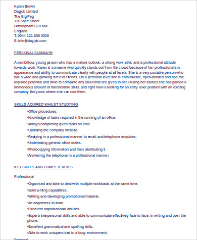 internship resume skills example