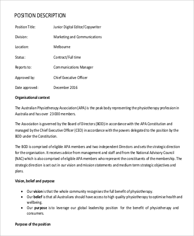 Free Junior Digital Editor Job Description