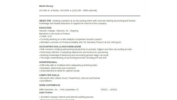 Free 9 Internship Resume Samples In Ms Word Pdf