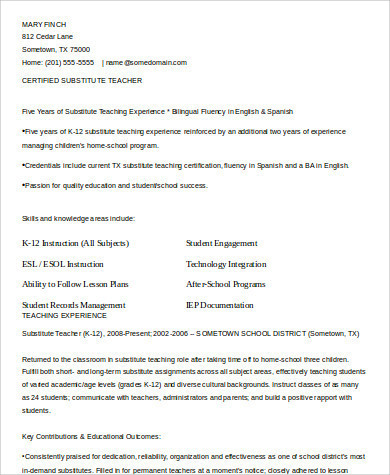 Free 9 Sample Teacher Resume Templates In Pdf Ms Word