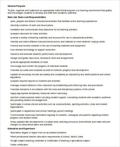teacher job description for resume
