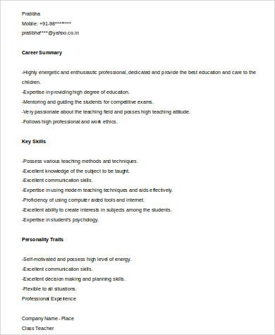 teacher graduate resume