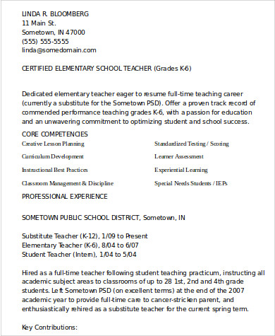 school teacher resume