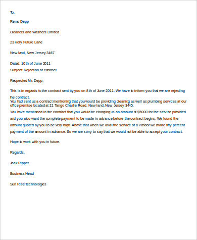 contract rejection letter