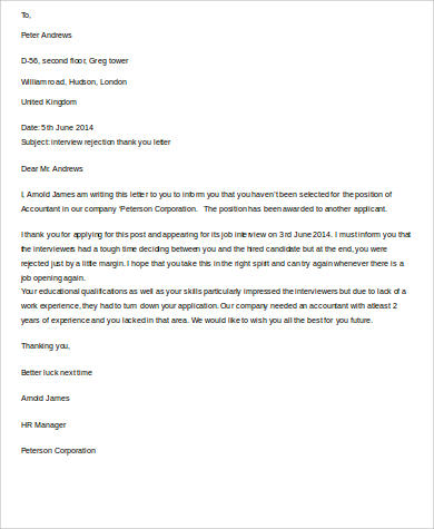 interview rejection thank you letter