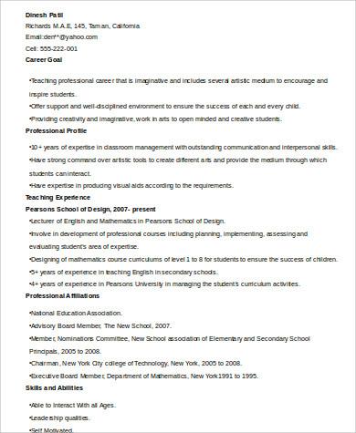 teacher professional resume