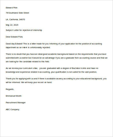 Rejection Letter Sample  Free Sample Example Format Download