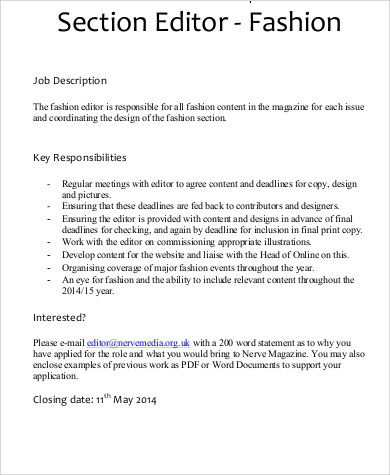 Fashion Editor Job Description Sample   Examples In Word Pdf