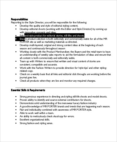 Fashion Editor Job Description  AnuvratInfo