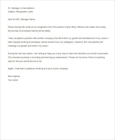 Email Resignation Letter Sample 8 Examples In Word Pdf