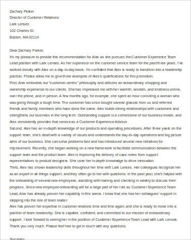 recommendation promotion letter