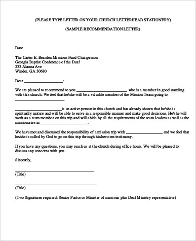 Samples Of Recommendation Letter   Examples In Word Pdf