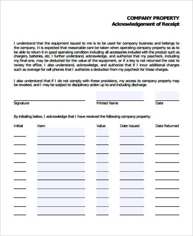 acknowledgement receipt of property