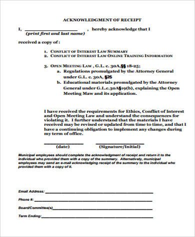 Acknowledgement Receipt Sample 18 Examples In Word Pdf
