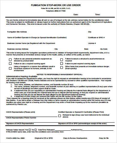 stop work order form