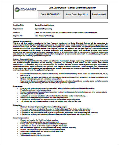 sample senior chemical engineer job description