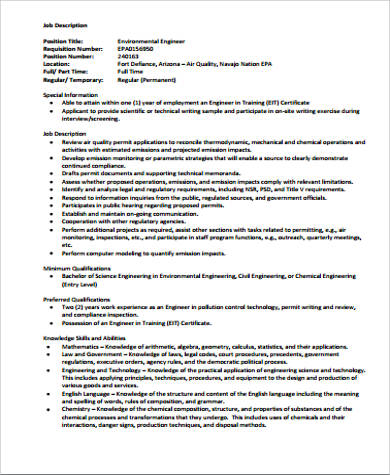 environmental chemical engineer job description