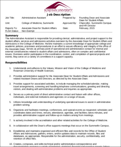 Medical Office Administrative Assistant Job Description  Administrative Assistant Responsibilities