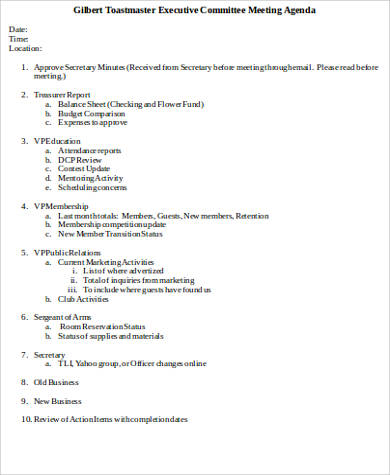 executive meeting agenda