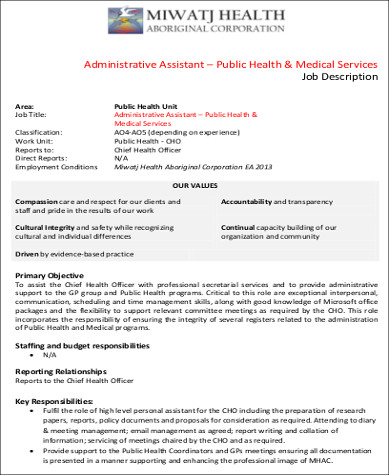 Medical Administrative Assistant Job Description Sample