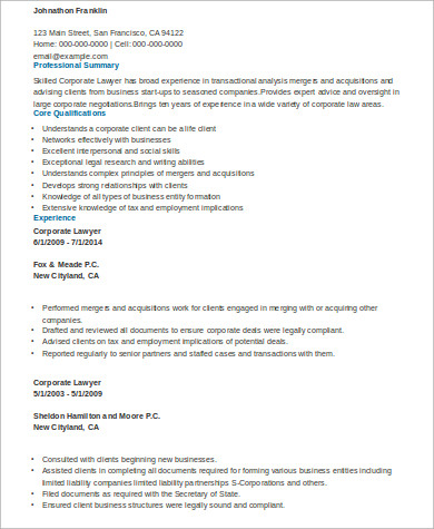 sample corporate lawyer resume
