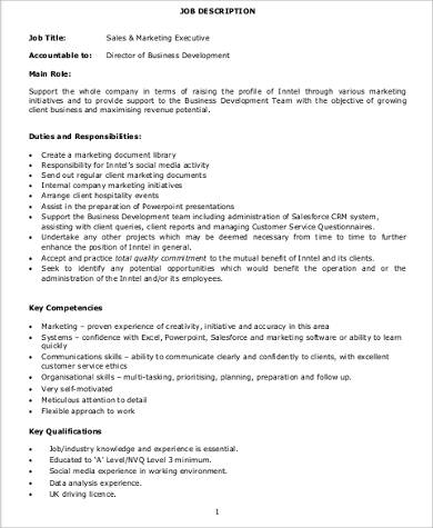 Marketing Executive Job Description Sample   Examples In Word Pdf