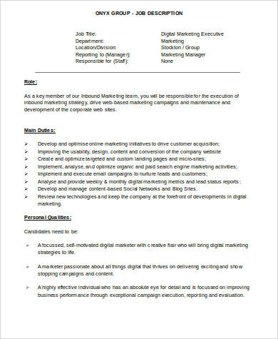 Marketing Executive Job Description Sample - 9+ Examples in Word, PDF