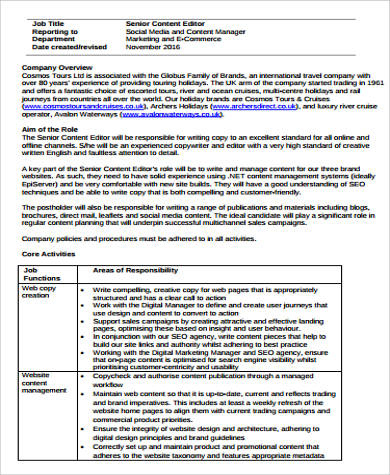 Content Editor Job Description Sample   Examples In Word Pdf