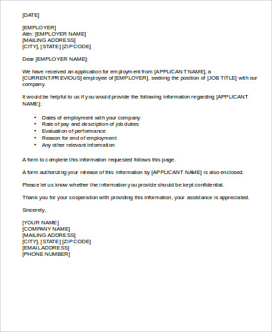 Employment Reference Letter   Free Sample Example Format Download