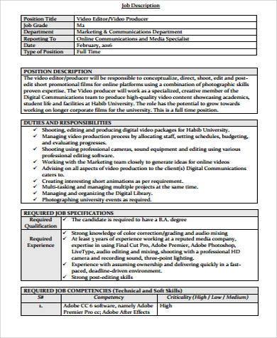 Content Editor Job Description Sample - 9+ Examples In Word, Pdf