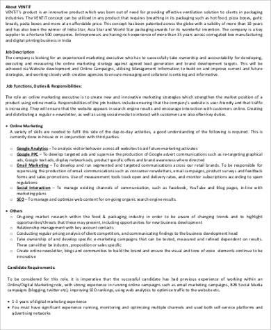 online marketing executive job description