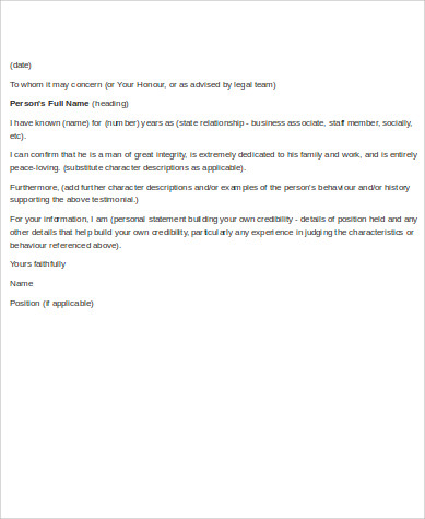 business employment reference letter