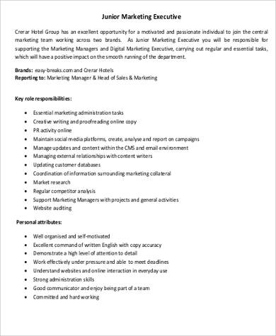 Sales Intern Job Description Marketing Executive Job Description