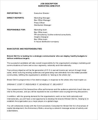 marketing executive director job description