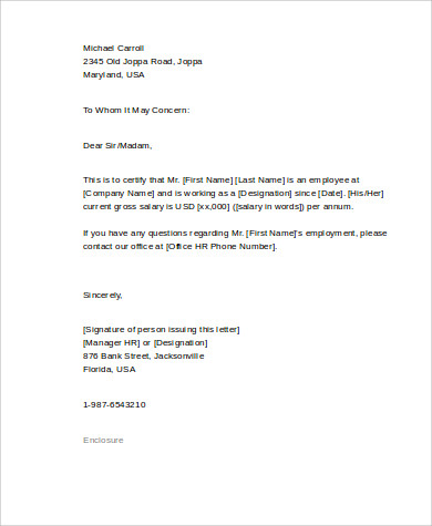 employer letter of recommendation 8 employment reference letter samples sample templates 21495 | Proof of Employment Reference Letter