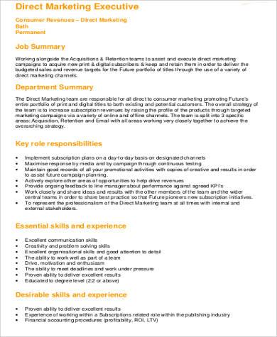 direct marketing executive job description