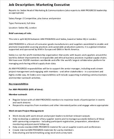 9 marketing executive job description samples sample templates