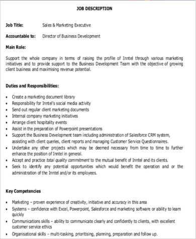 Sales Marketing Executive Job Description Sample - 7+ Examples In