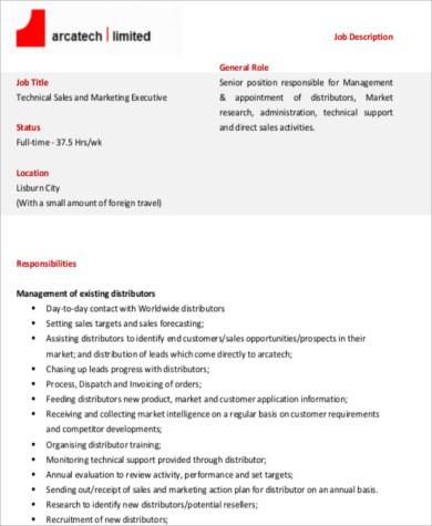 technical sales marketing executive job description