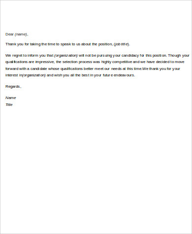 employment job rejection letter example