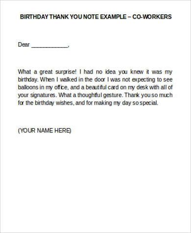 Thank You Note Example   Samples In Word Pdf