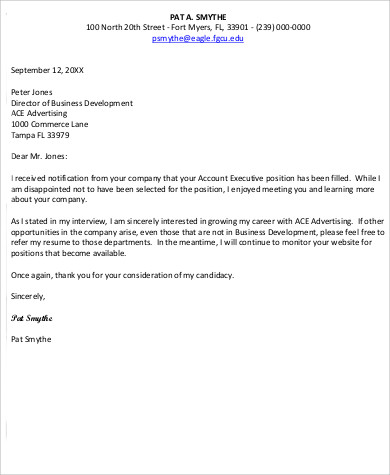 employment rejection letter response