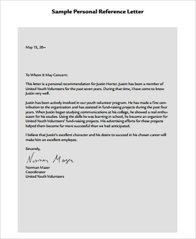 personal letter of reference pdf