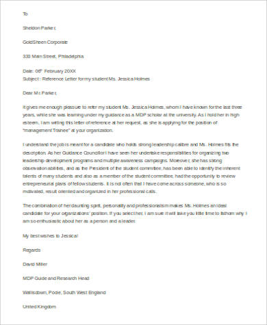letter of reference for student