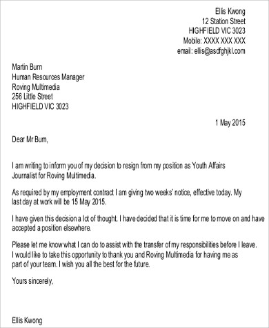 Two Week Notice Resignation Letter PDF